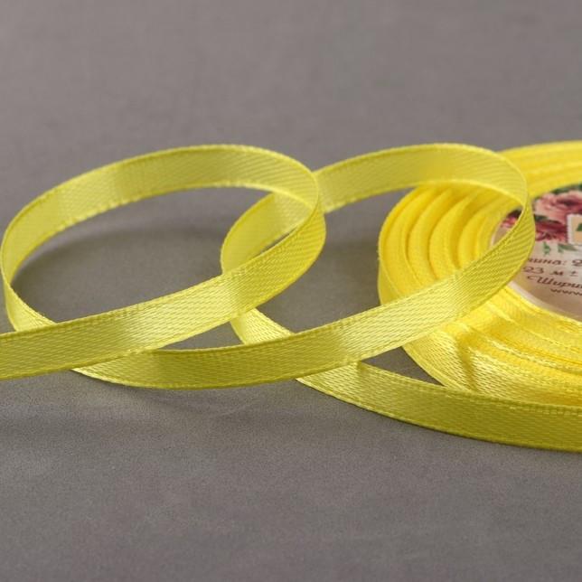 Лента атласная, 6 мм × 23 ± 1 м, цвет жёлтый №15