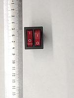 Клавиша двойная с фиксацией 10А 6 конт. с подсветкой 220В, фото 1