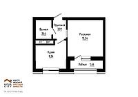 1 комнатная квартира в ЖК  Nova City на Рыскулбекова 33.91м², фото 1