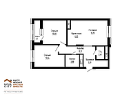 3 комнатная квартира в ЖК  Nova City на Рыскулбекова 69.72м², фото 1