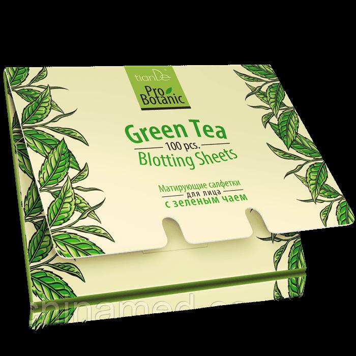 Матирующие салфетки для лица с зеленым чаем Pro Botanic