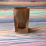 Крафт пакет бурый с окном 20х10х6 см 78 гр/м2, фото 2