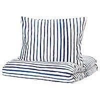 Пододеяльник и 1 наволочка, СОНГЛЭРКА в полоску, синий белый150x200/50x70 см ИКЕА, IKEA, фото 1