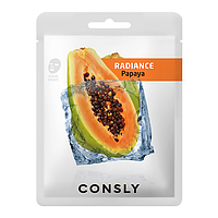 CONSLY Тканевая Маска для Сияния Papaya Radiance Sheet Mask / 20 мл.