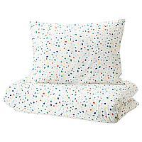 Пододеяльник и 1 наволочка,МЁЙЛИГХЕТ  белый, мозаичный орнамент150x200/50x70 см ИКЕА, IKEA