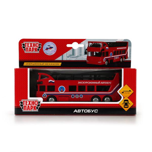 Технопарк Металлическая инерционная модель Экскурсионный автобус, двухэтажный, 15 см.
