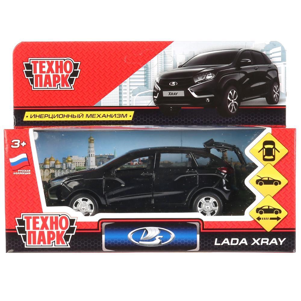 Технопарк Металлическая инерционная модель Lada XRay, черный, 12 см.