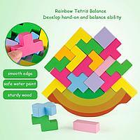 Деревянный тетрис HALO NATION - Rainbow Tangram Building Balance Blocks Game Puzzle STEM