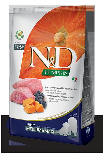 Беззерновой корм Farmina N&D Puppy для щенков средних и крупных пород (Ягненок, Черника) - 2.5 кг