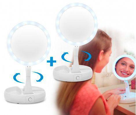 Зеркало для макияжа с  LED подсветкой двустороннее, фото 2