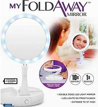 Зеркало для макияжа с  LED подсветкой двустороннее, фото 3