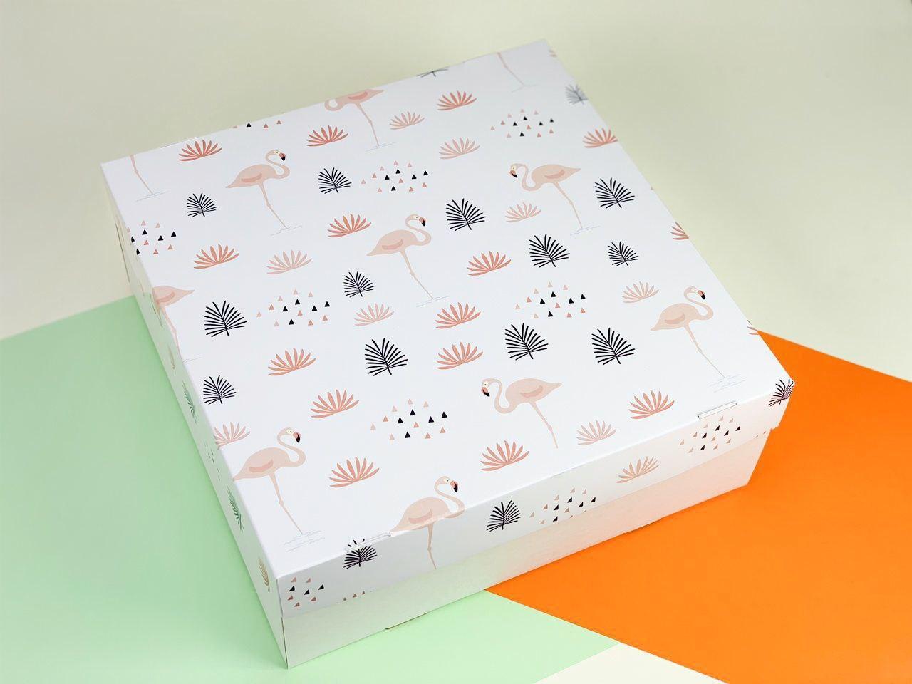 """Подарочная коробка """"Фламинго"""". Размер: 25*25*9"""
