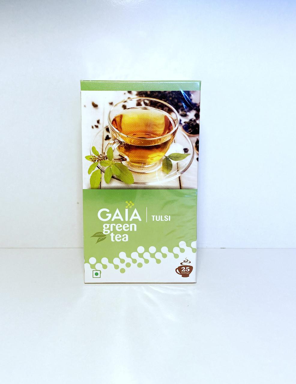 Натуральный зеленый чай с Тулси, Gaia, 25 пакетиков