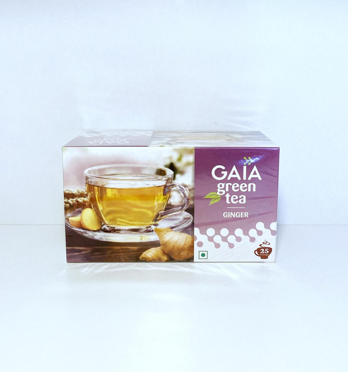 Зеленый чай  с имбирем Gaia, 25 пакетиков, Ginger Green Tea
