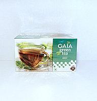 Зеленый чай с мятой, Gaia, 25 пакетиков, Green Tea Mint