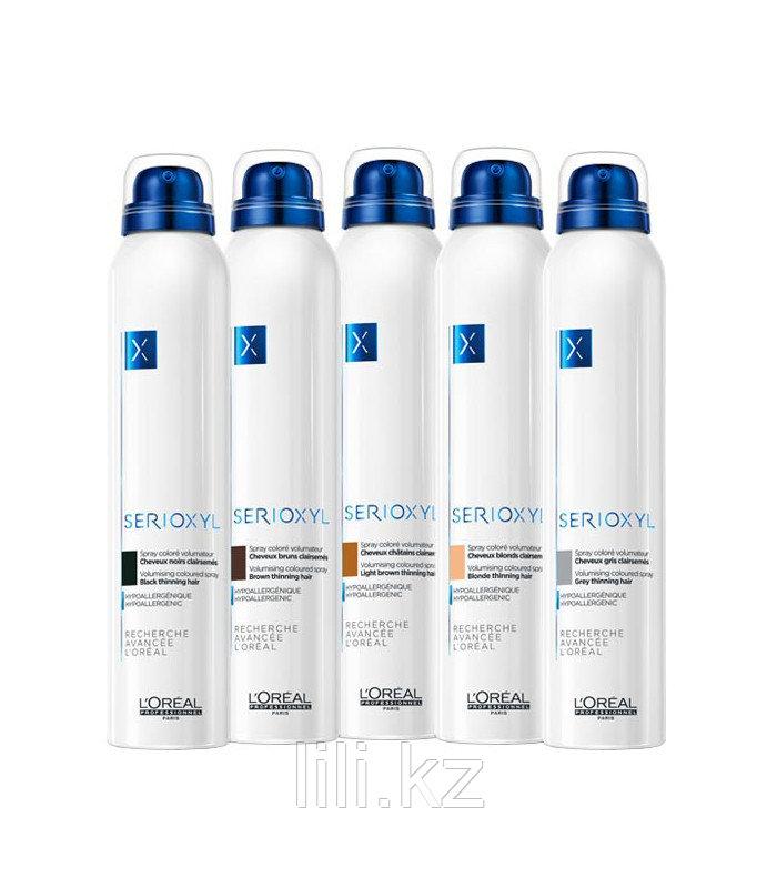 Спрей-камуфляж цветной для истонченных волос (оттенок черный) L'Oreal Professionnel SERIOXYL 200 мл.
