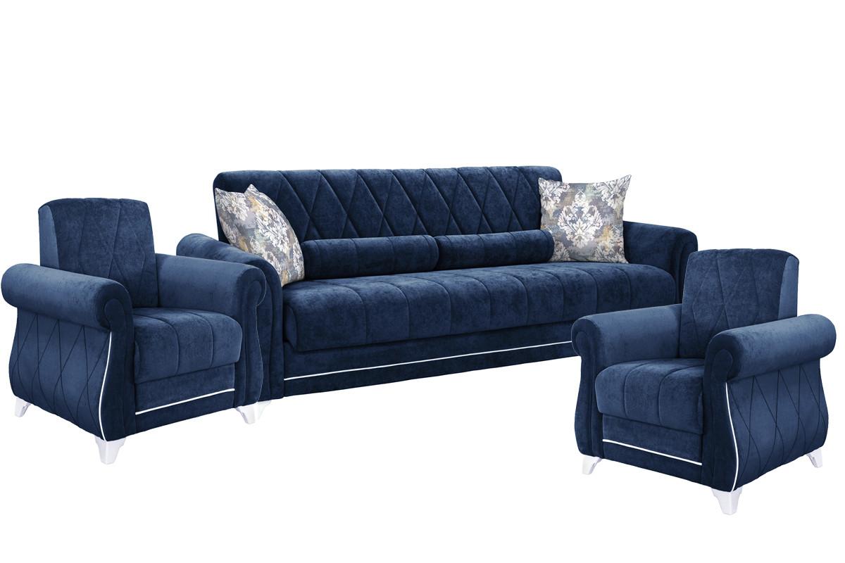 Комплект мягкой мебели Роуз, Синий, Нижегородмебель и К(Россия)