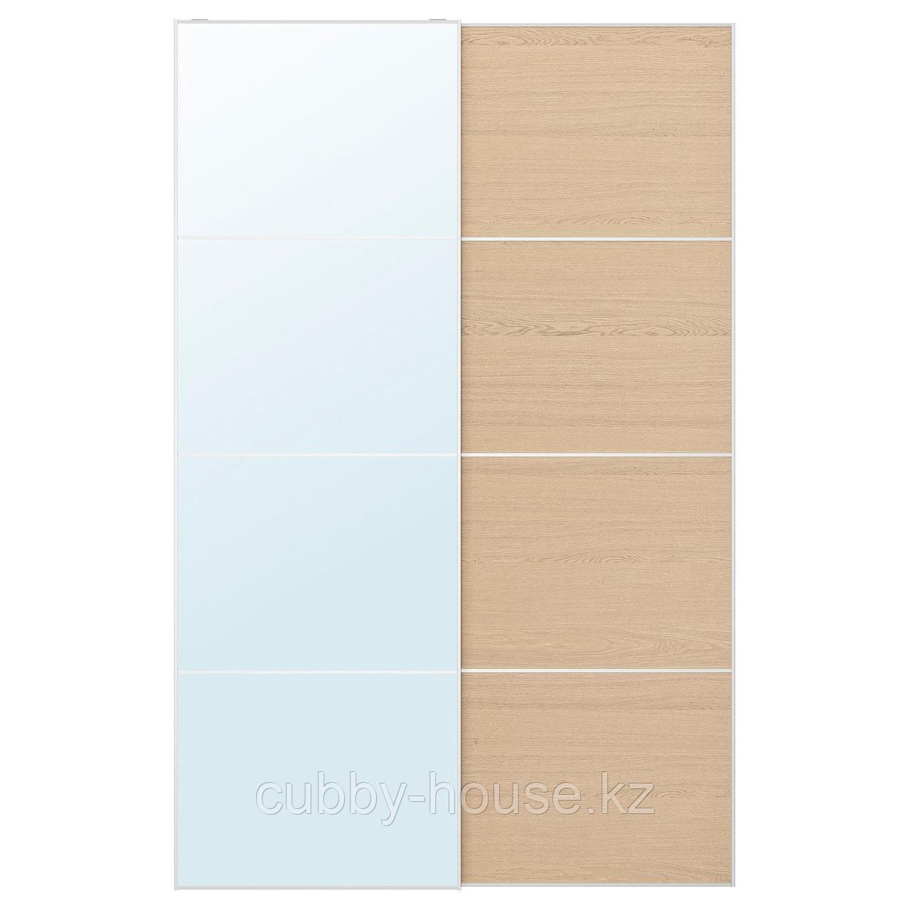 АУЛИ / МЕХАМН Пара раздвижных дверей, зеркальное стекло, под беленый дуб, 150x236 см