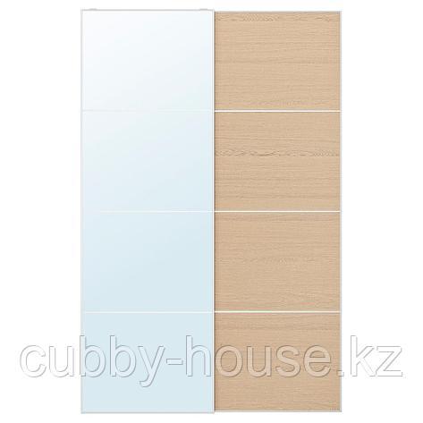 АУЛИ / МЕХАМН Пара раздвижных дверей, зеркальное стекло, под беленый дуб, 150x236 см, фото 2