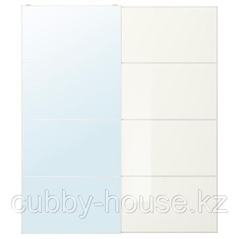 АУЛИ / ФЭРВИК Пара раздвижных дверей, зеркальное стекло, белое стекло, 200x236 см, фото 2