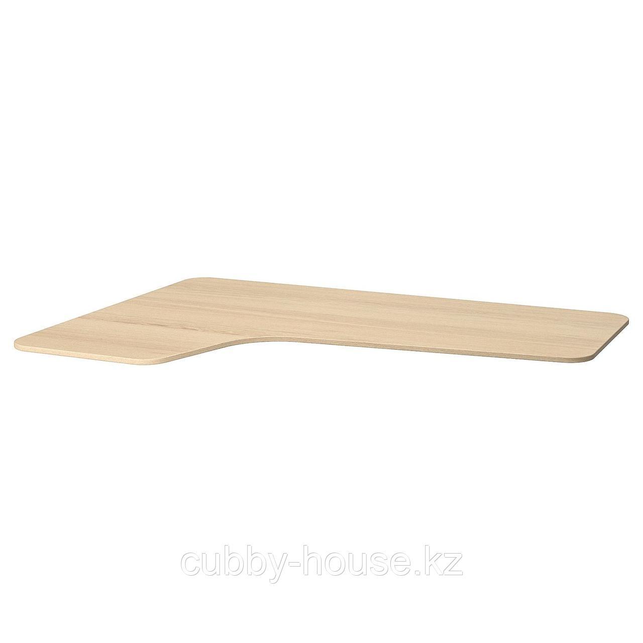 БЕКАНТ Столешница с вырезом, левая, дубовый шпон, беленый, 160x110 см