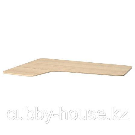 БЕКАНТ Столешница с вырезом, левая, дубовый шпон, беленый, 160x110 см, фото 2