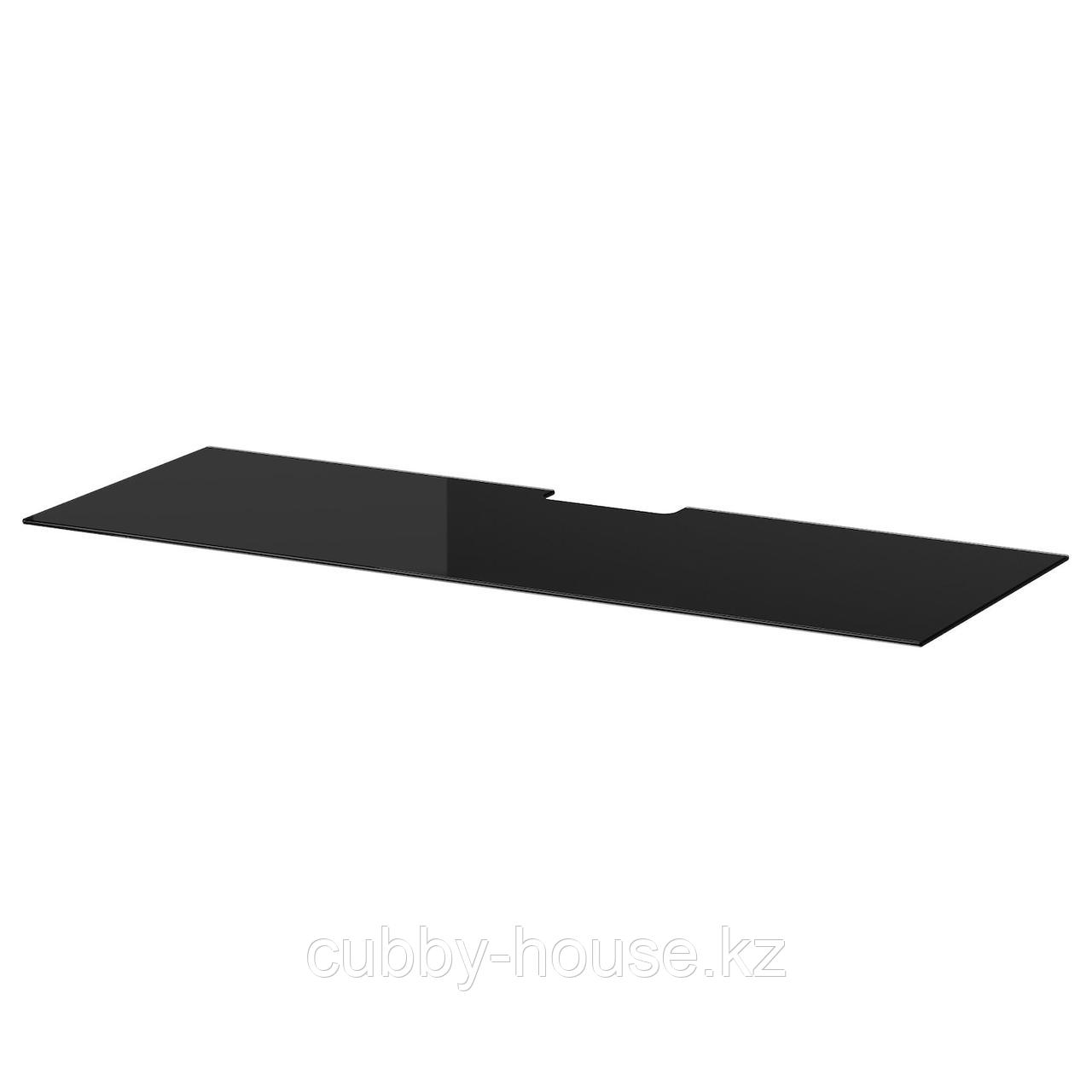 БЕСТО Верхняя панель д/ТВ, стекло черный, 120x40 см