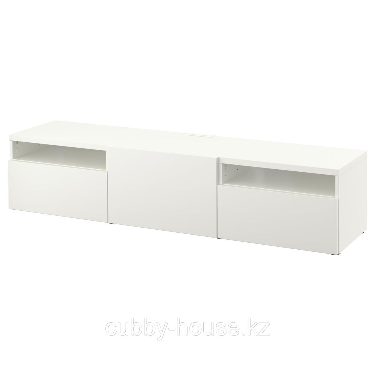 БЕСТО Тумба под ТВ, белый, Лаппвикен белый, 180x42x39 см