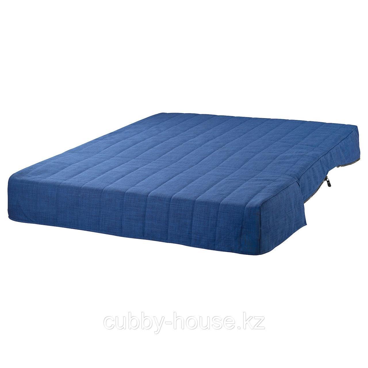 ЛИКСЕЛЕ Пенополиуретановый матрас с чехлом, Шифтебу синий темно-синий, 140x188 см