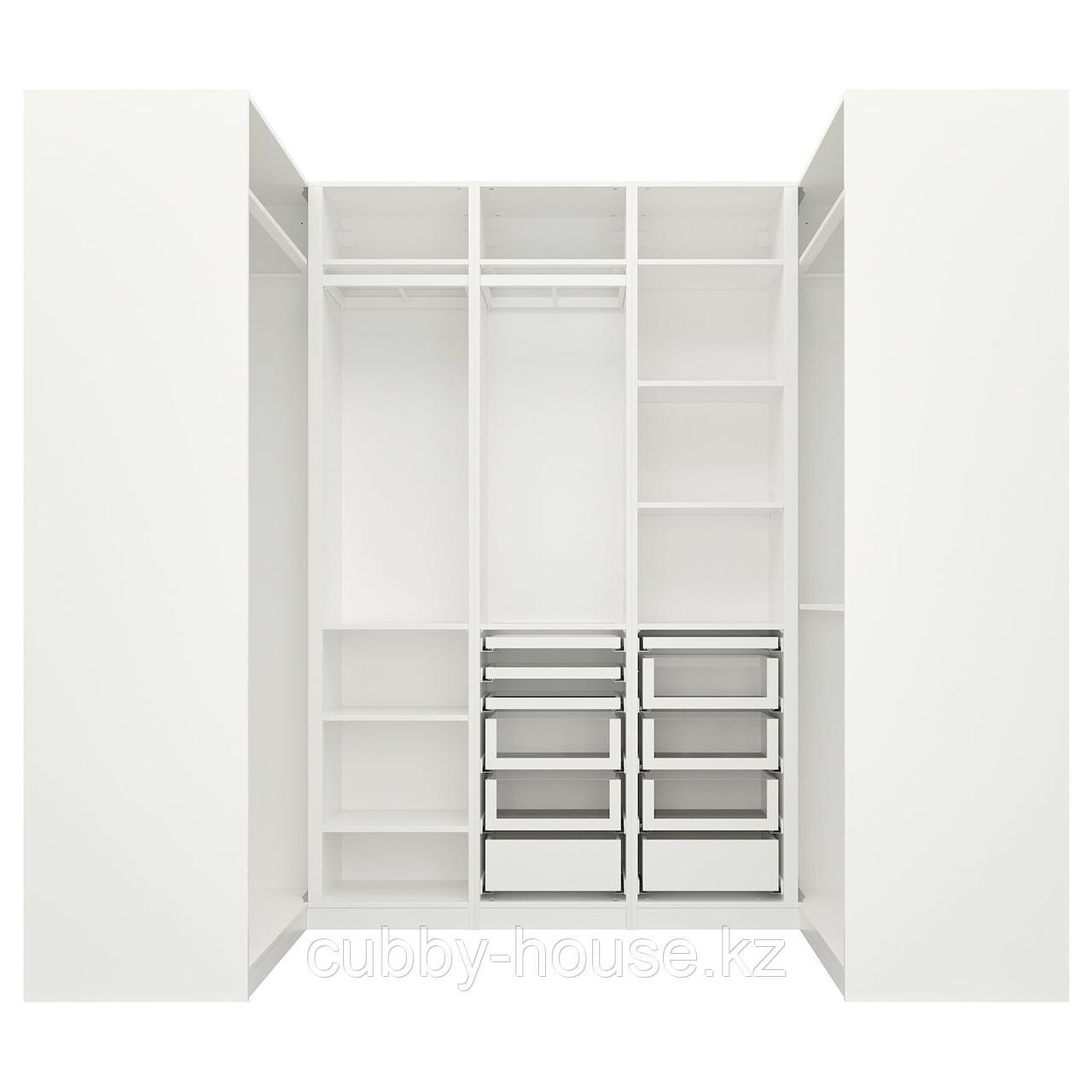 ПАКС Гардероб угловой, белый, 113/271/113x236 см