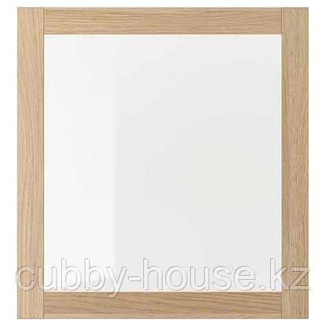 СИНДВИК Стеклянная дверь, под беленый дуб, прозрачное стекло, 60x64 см, фото 2
