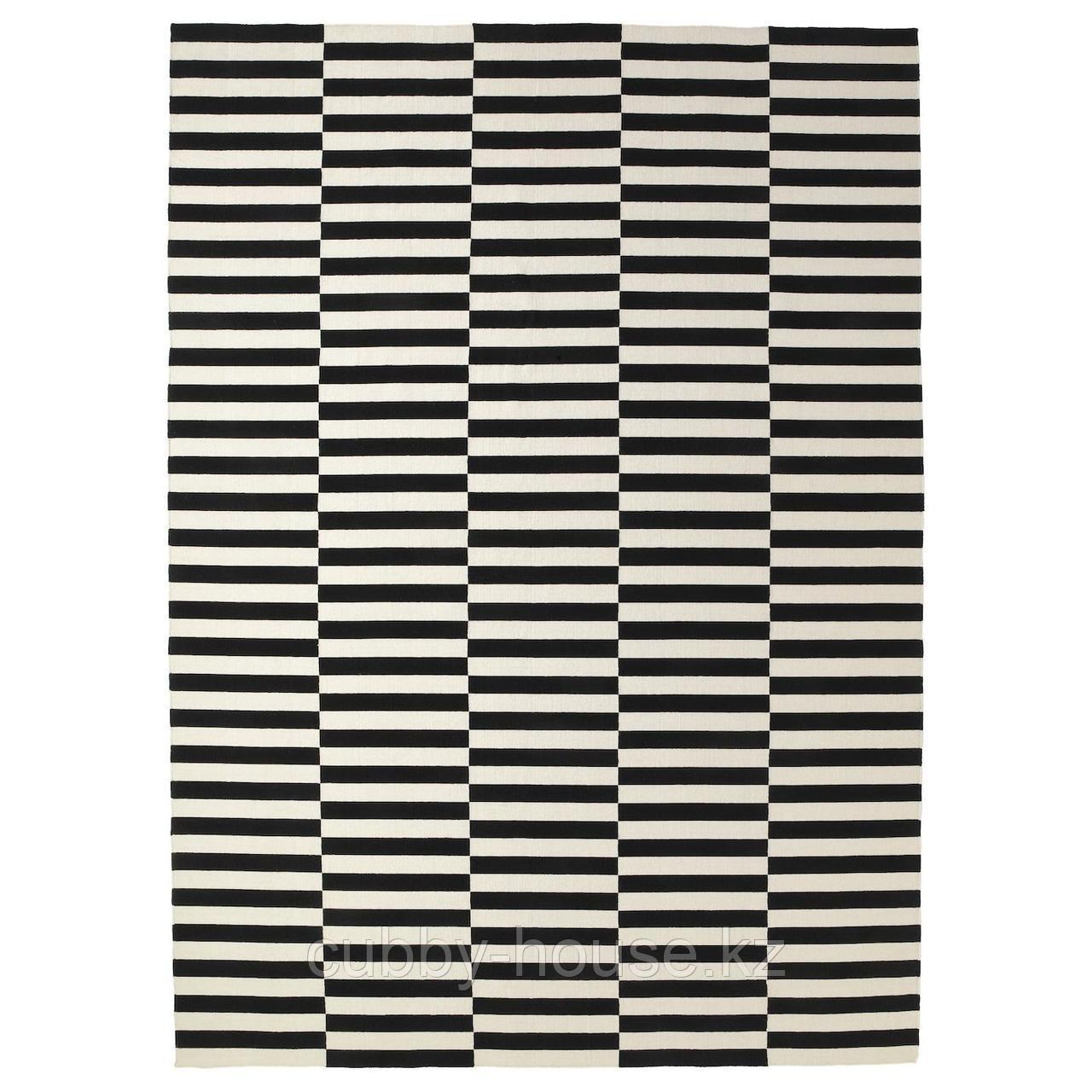 СТОКГОЛЬМ Ковер безворсовый, ручная работа, в полоску черный/белый с оттенком, 250x350 см