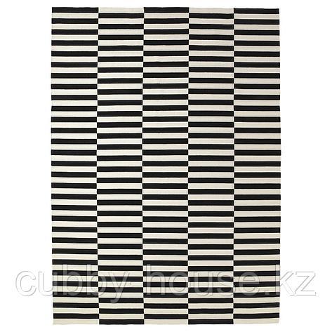СТОКГОЛЬМ Ковер безворсовый, ручная работа, в полоску черный/белый с оттенком, 250x350 см, фото 2
