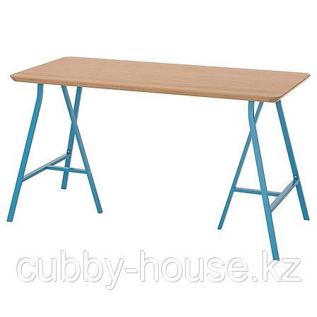 ХИЛВЕР / ЛЕРБЕРГ Стол, бамбук, синий, 140x65 см, фото 2