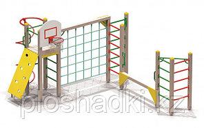 Детский городок, шведская стенка, сетка лазалка, баскетбольный щит, винтовой спуск