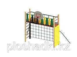 Детский городок, баскетбольный щит, сетка лазалка, лестница, скалодром