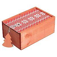 Коробка деревянная «Скандик», малая, красная, фото 1