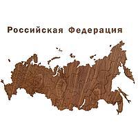 Деревянная карта России с названиями городов, орех, фото 1