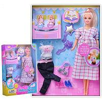 8009 Defa Lucy Кукла Lucy (29см) беременная (съемный живот) + 2 ребенка, с акс., в асс., 32*23*6см