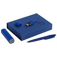 Набор Bond: аккумулятор, флешка и ручка, синий, фото 1