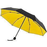 Зонт складной с защитой от УФ-лучей Sunbrella, желтый с черным, фото 1