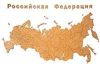 Деревянная карта России с названиями городов, коричневая, фото 1