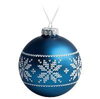 Елочный шар «Скандинавский узор», 10 см, синий, фото 1
