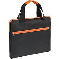 Конференц-сумка Unit Сontour, черная с оранжевой отделкой, фото 1
