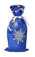 Чехол для шампанского «Снежинки», синий, фото 1