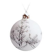 Елочный шар с фигуркой «Заснеженный лес», 10 см, фото 1