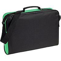 Сумка для документов Unit Metier, черная с зеленой отделкой, фото 1