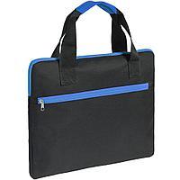 Конференц-сумка Unit Сontour, черная с синей отделкой, фото 1