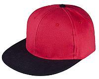 Бейсболка Unit Heat с прямым козырьком, двухцветная, красная с черным, фото 1