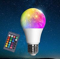 Светодиодная цветная RGBW лампа с пультом 7W, фото 1